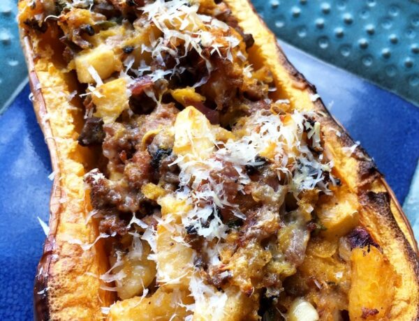 Apple and Sausage-Stuffed Butternut Squash