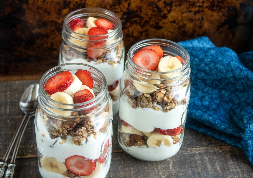 Strawberry-Banana Granola Parfaits